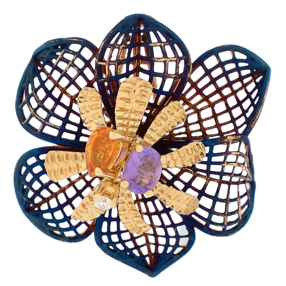Подвеска Roberto Bravo Colors с покрытым переливающейся эмалью ажурным цветком с инкрустацией камнями