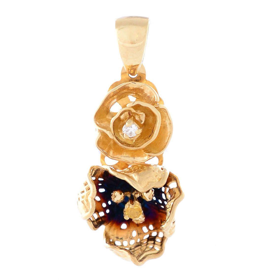 Подвеска Roberto Bravo Gallica золотая в виде цветов с сапфиром и бриллиантом