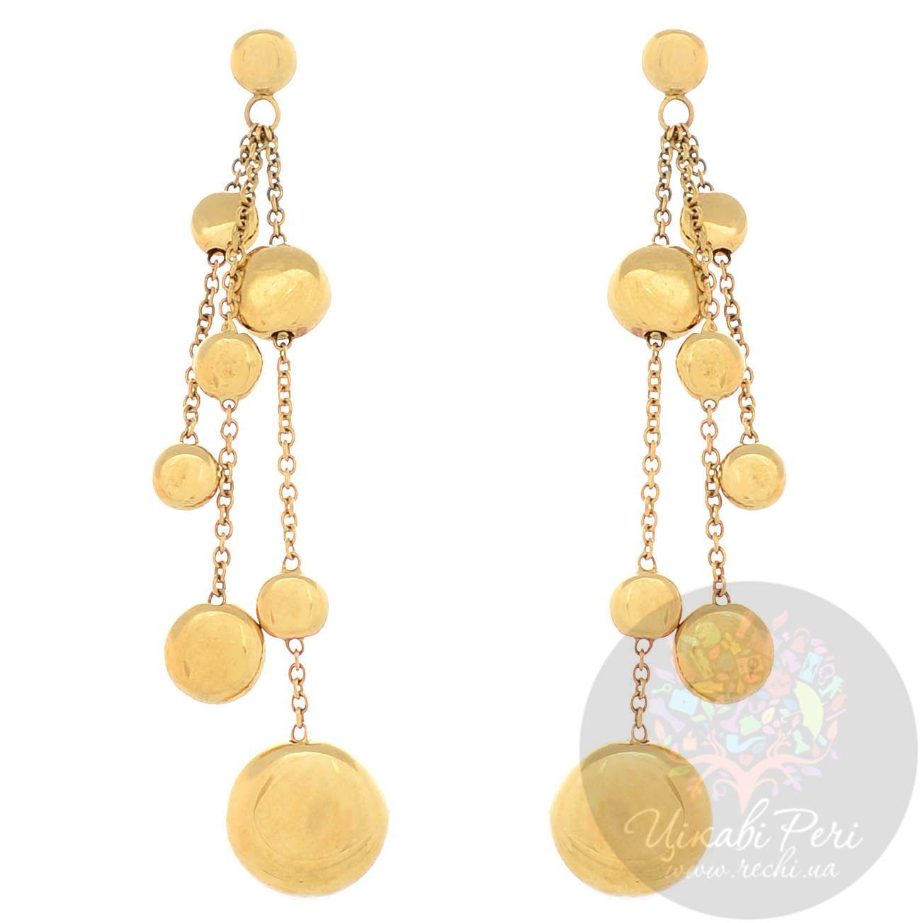 Серьги Roberto Bravo Q Collection из желтого золота длинные с золотыми шарами на цепочках