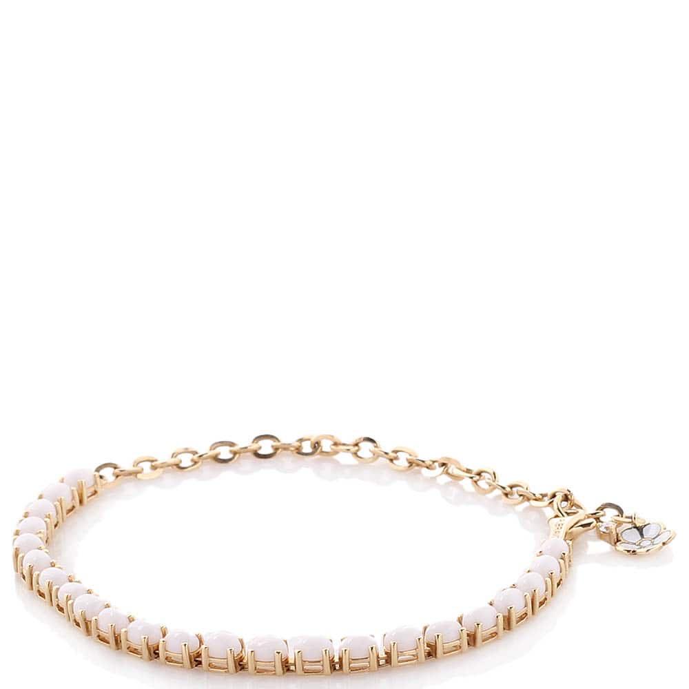 Тонкий золотой браслет Roberto Bravo с агатом и бриллиантом