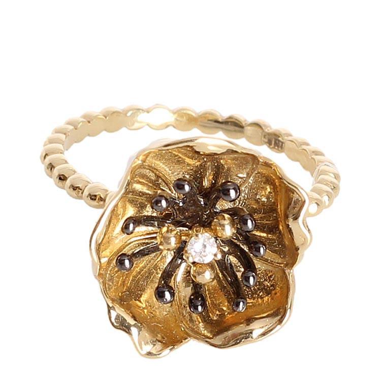 Тонкое золотое кольцо Roberto Bravo из шариков с большим цветком
