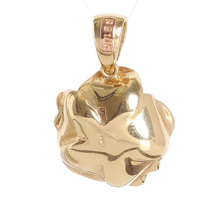 Золотой кулон на шею Roberto Bravo в форме цветка с бриллиантом