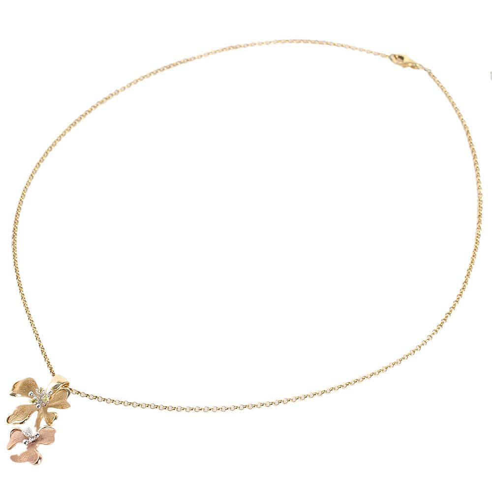 Золотой кулон на шею Roberto Bravo Kareena в форме двух цветов маттиолы