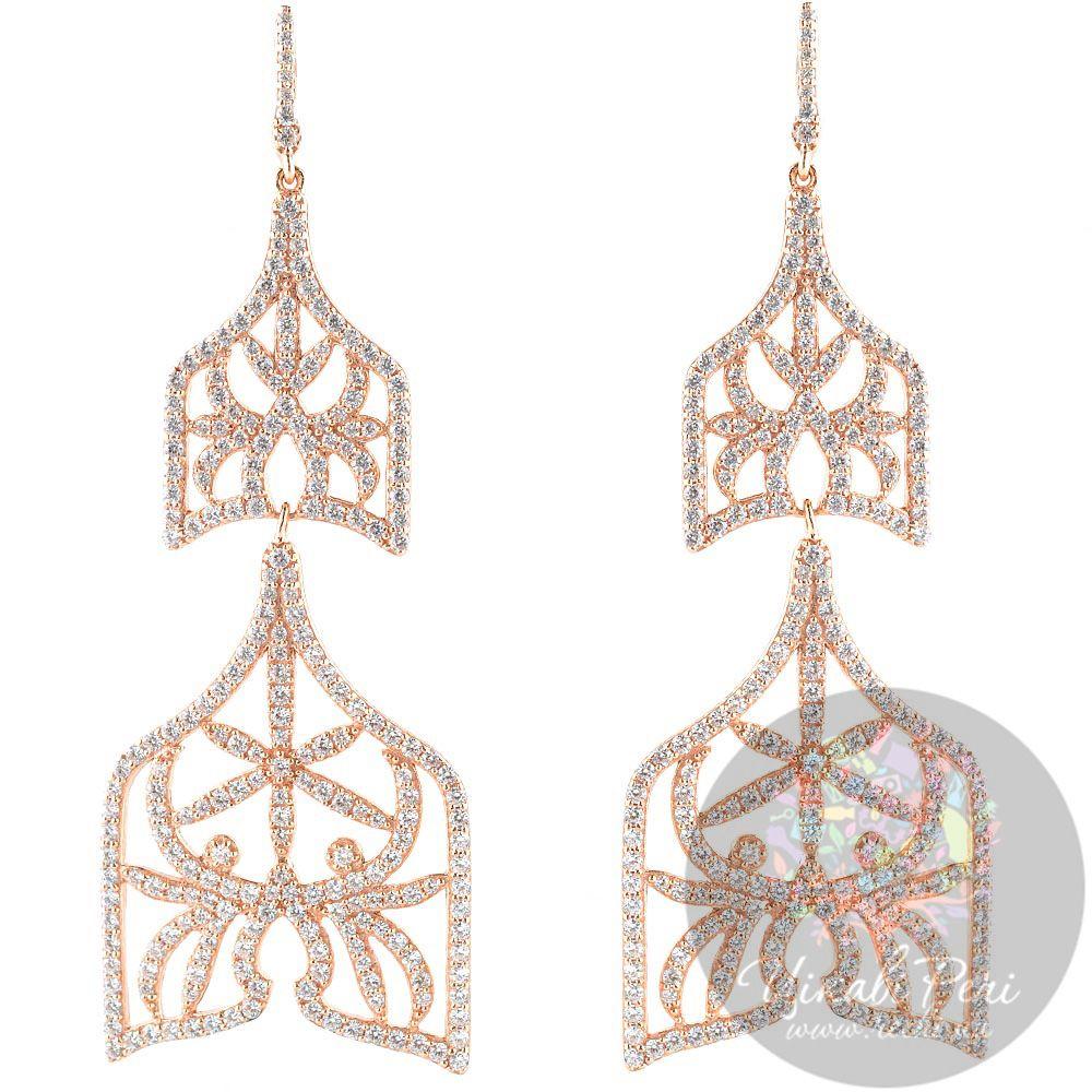 Длинные серебряные серьги APM Monaco Campanella в красной позолоте с цирконами