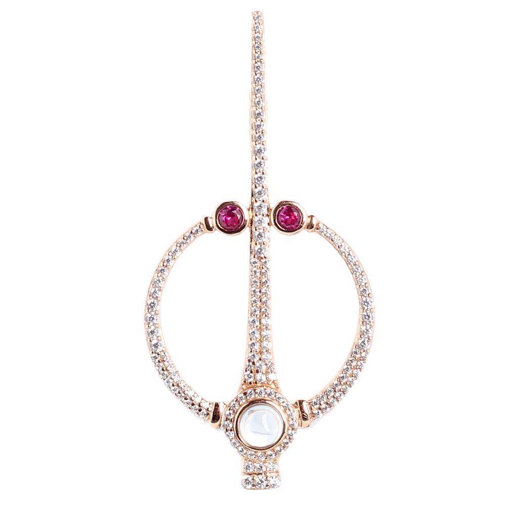 Серебряная моно-серьга с позолотой APM Monaco с розовым кварцем