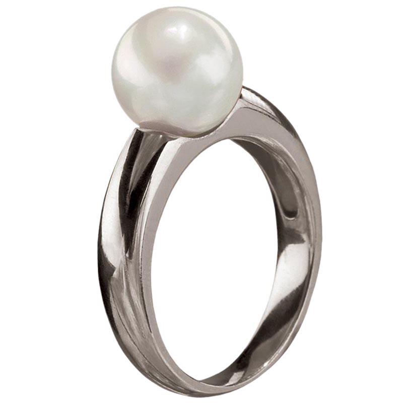 Женское кольцо Yamagiwa из белого золота с круглой натуральной жемчужиной