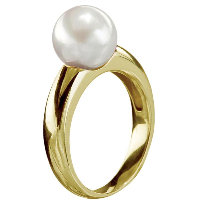 Женское кольцо Yamagiwa из желтого золота с круглой натуральной жемчужиной