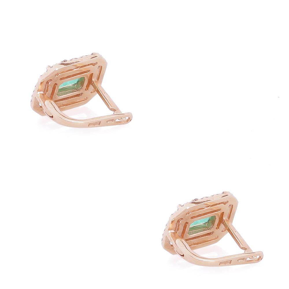 Золотые серьги Камея с изумрудами и бриллиантами c-718-izumrud