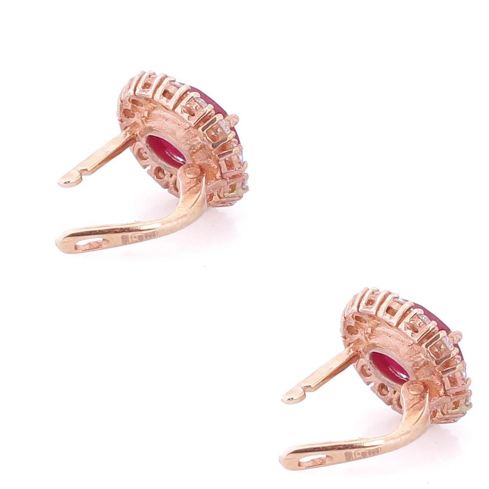 Золотые серьги Камея с бриллиантами и рубинами c-726