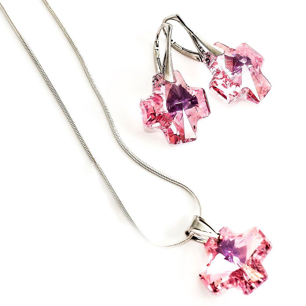Набор из цепочки с кулоном и сережек She Happy Розовый кварц