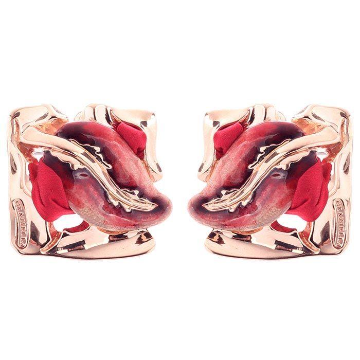 Серебряные серьги Graziella квадратной формы с веточкой лозы на красном шелке