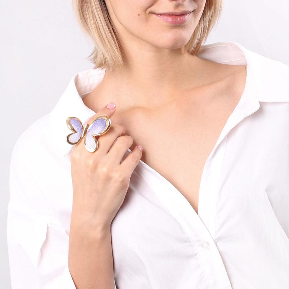 Кольцо Graziella Бабочка фиолетового цвета