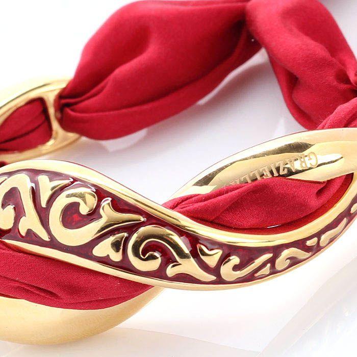 Браслет Graziella из переплетения серебра и красного японского шелка