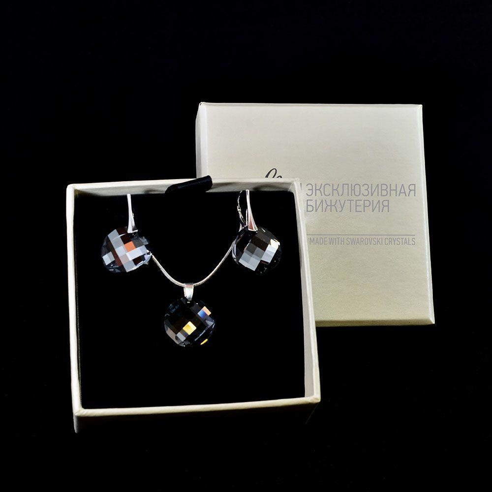 Набор серьги и подвеска She Happy с круглыми черными кристаллами Swarovski s7632