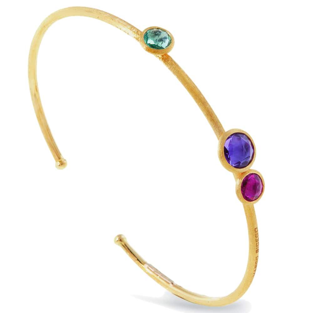 Тонкий браслет Marco Bicego Jaipur из золота с тремя драгоценными камнями