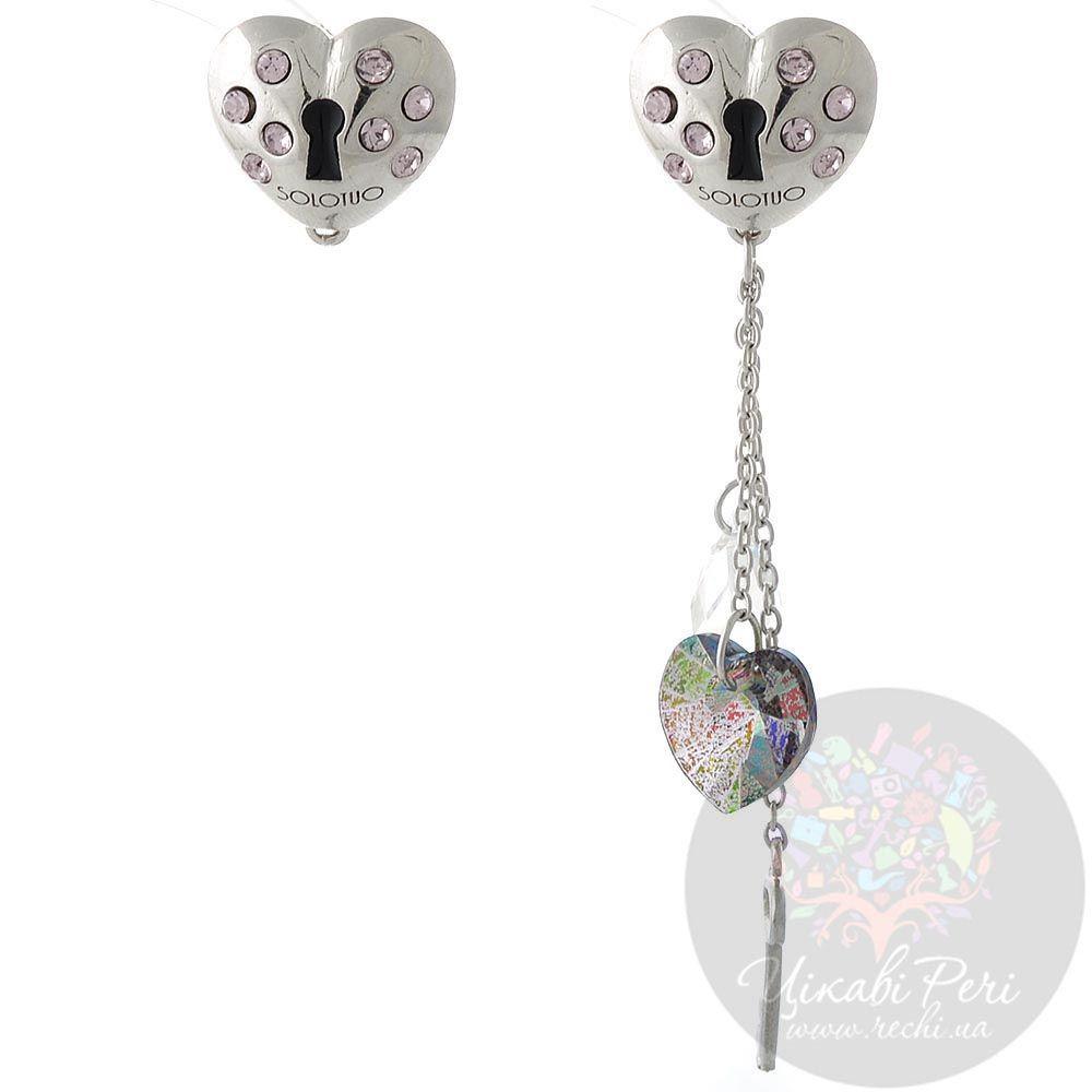 Серебряные серьги Solotuo в виде сердца в нежно-розовых стразах Swarovski со сменной подвеской