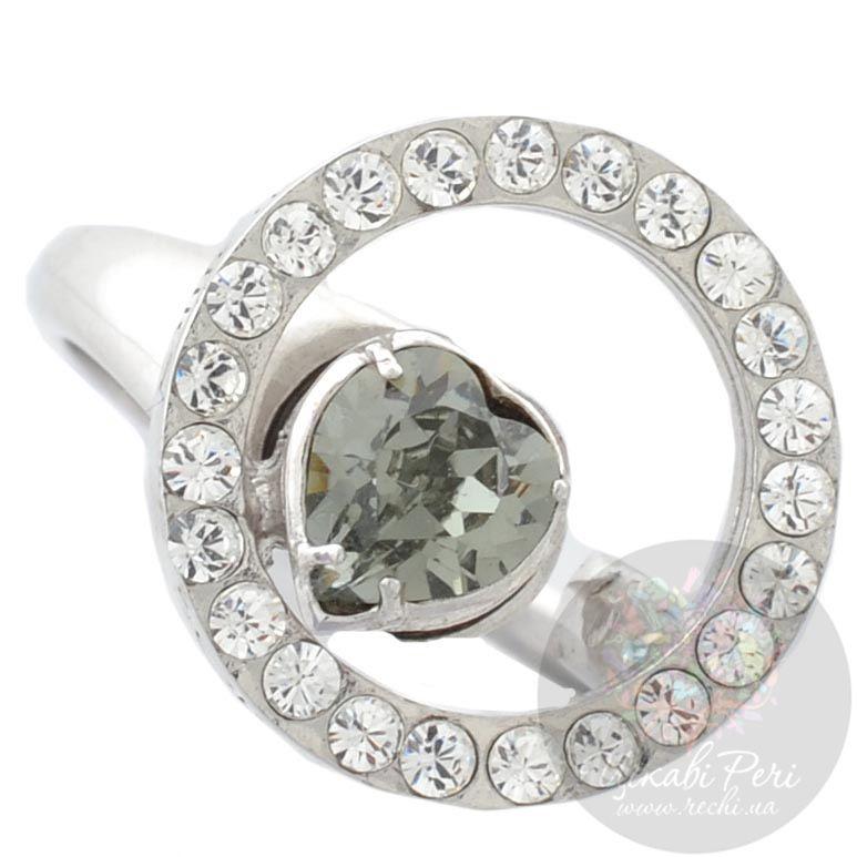 Кольцо Solotuo с серо-зеленым кристаллом Swarovski
