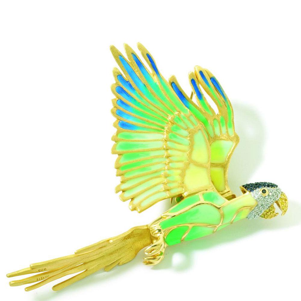 Брошь Misis Jungle Tiara в форме попугая