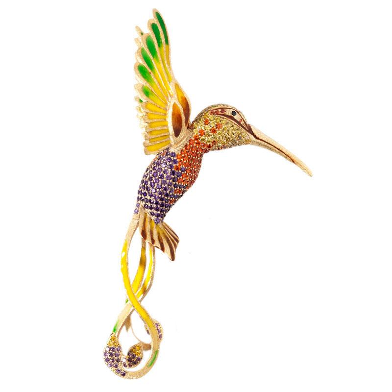 Брошь Misis I Giardini Di Marzo в виде птицы с ярким оперением