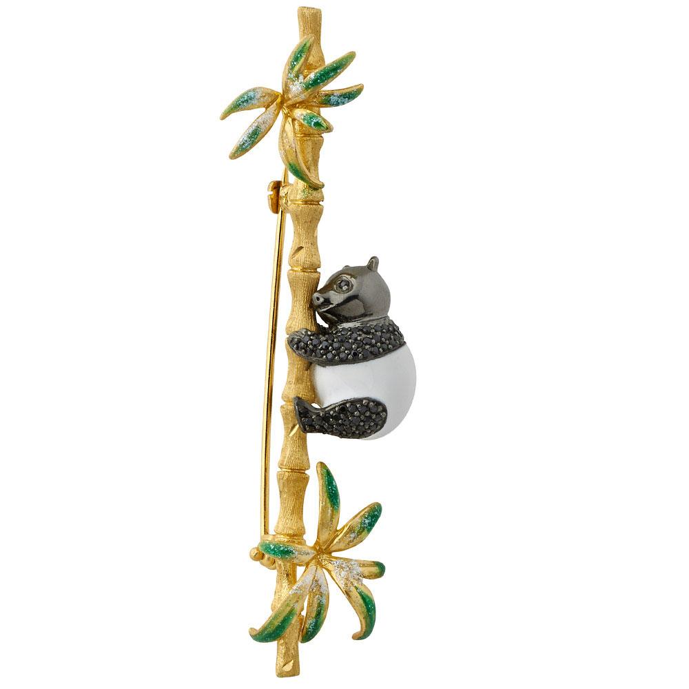 Брошь Misis Shan-si в виде бамбуковой веточки с пандой