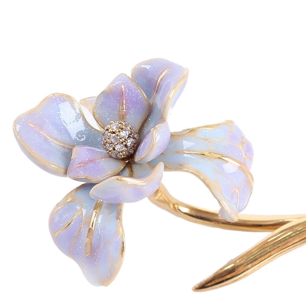 Брошь Misis Gemina с крупным цветком и цирконами