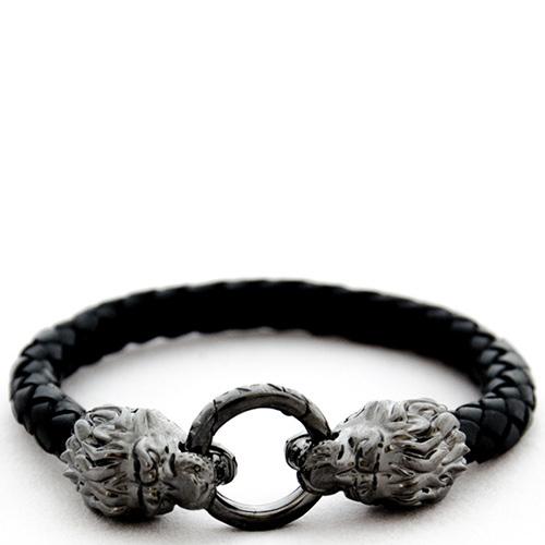 Кожаный браслет TOTEM Adventure Jewelry Lion родированный