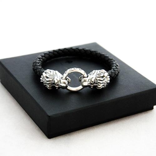 Кожаный браслет TOTEM Adventure Jewelry Lion серебряный