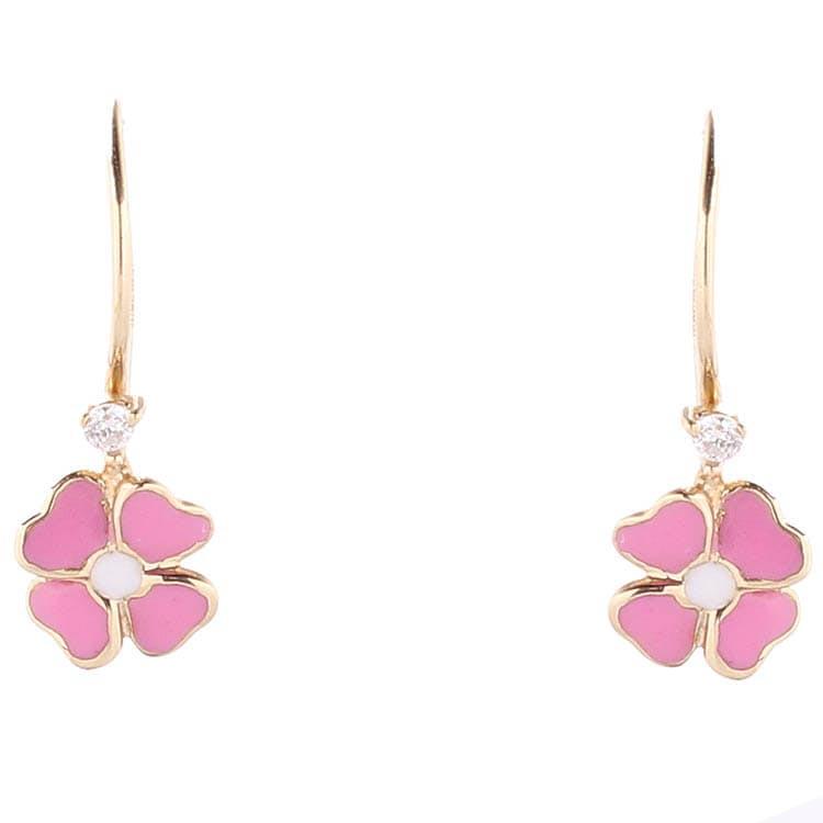 Золотые серьги Roberto Bravo Kareena с подвесками в форме розовых цветов с бриллиантами