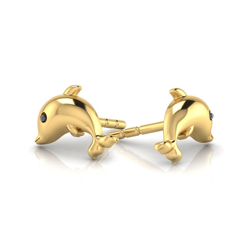 Золотые серьги-пусеты Perfecto Jewellery Kids Collection Дельфины ue00495-yg0000