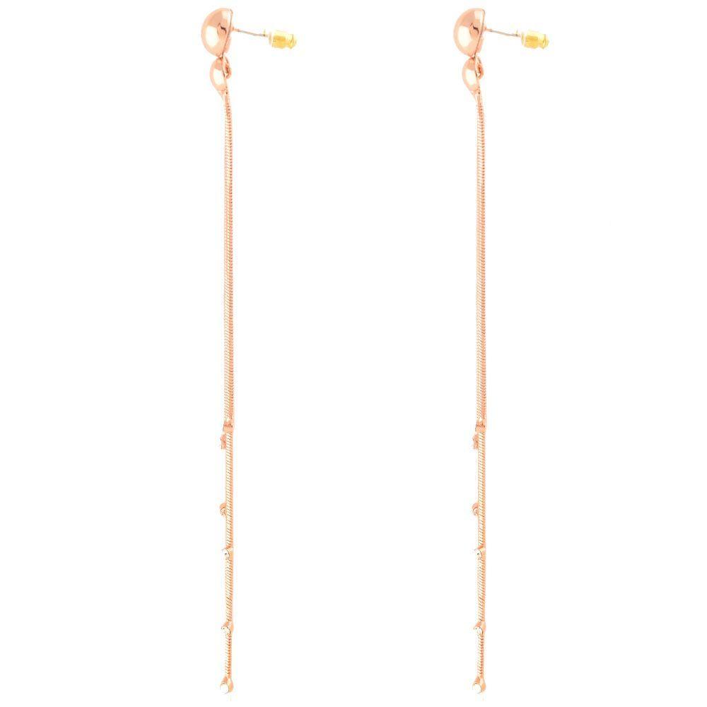 Длинные серьги-пусеты золотистые со стразами на подвижных цепочках
