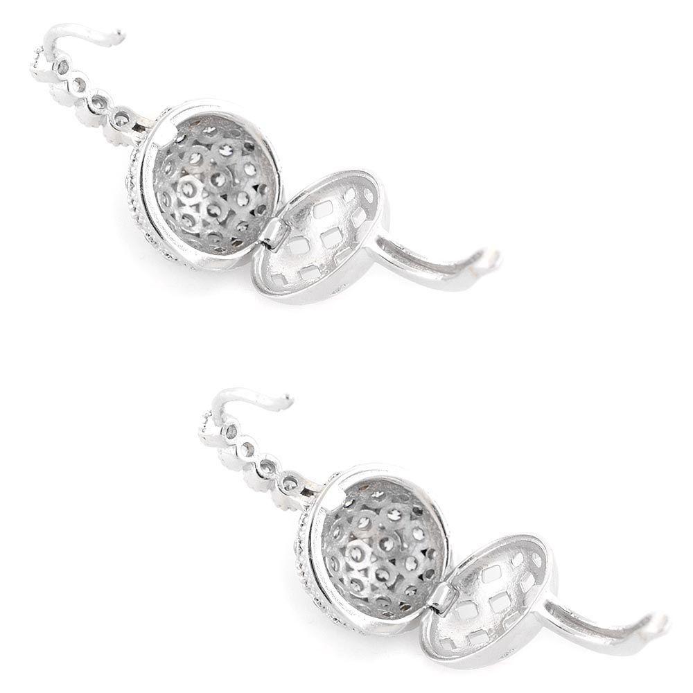 Серьги Parure Milano Silver серебряные в цирконах с секретом