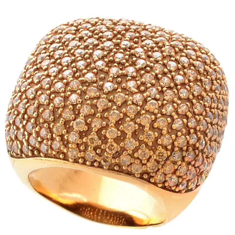 Большое кольцо Pesavento позолоченное с желтыми цирконами