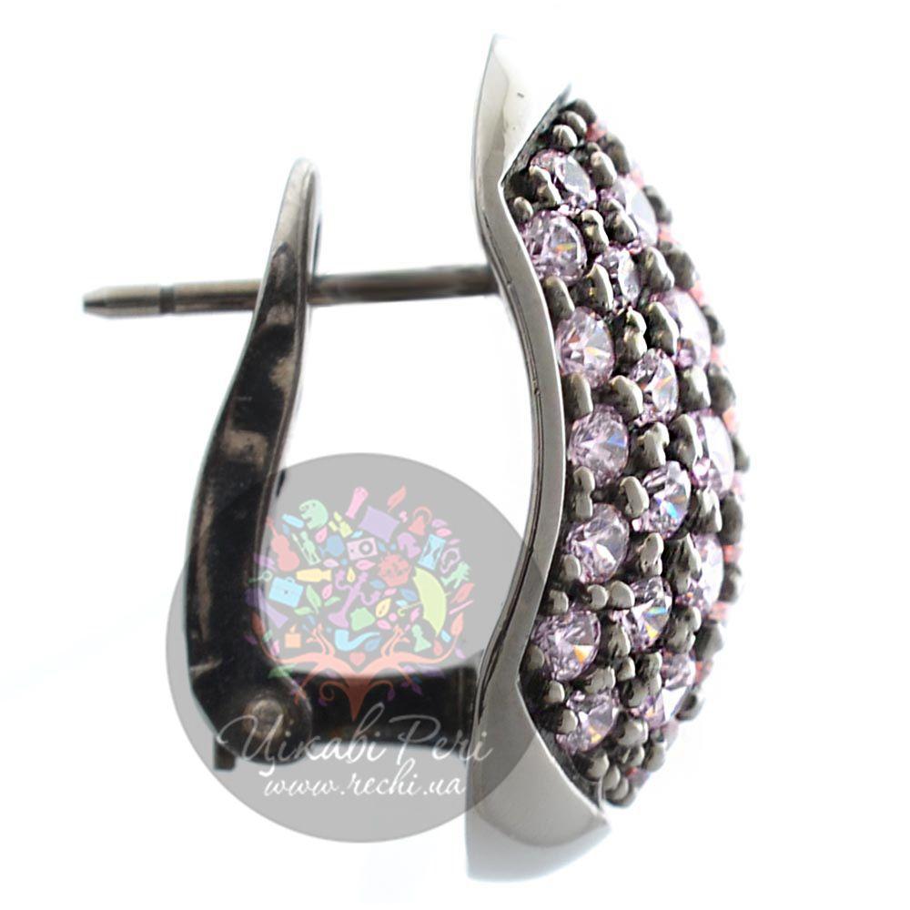 Серьги Pesavento с розовыми цирконами серебряные на итальянском замке