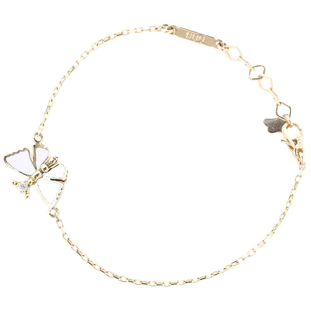 Тонкий золотой браслет Roberto Bravo с подвесом в форме бабочки и бриллиантом