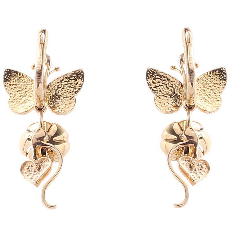 Золотые серьги Roberto Bravo White Dreams с подвесками в форме цветов и бабочек