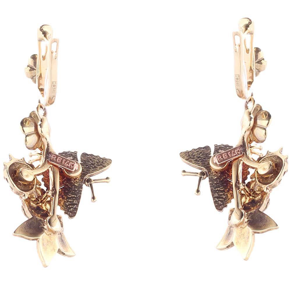 Серьги Roberto Bravo White Dreams с подвесками цветами и бабочками с бриллиантами