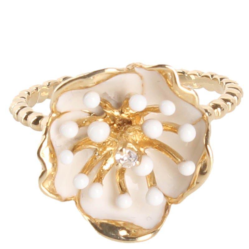 Тонкое золотое кольцо Roberto Bravo White Dreams из шариков с большим белым цветком