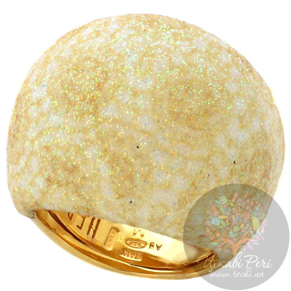 Крупное кольцо Pesavento позолоченное с сияющей желтой карбоновой крошкой и цвета шампань
