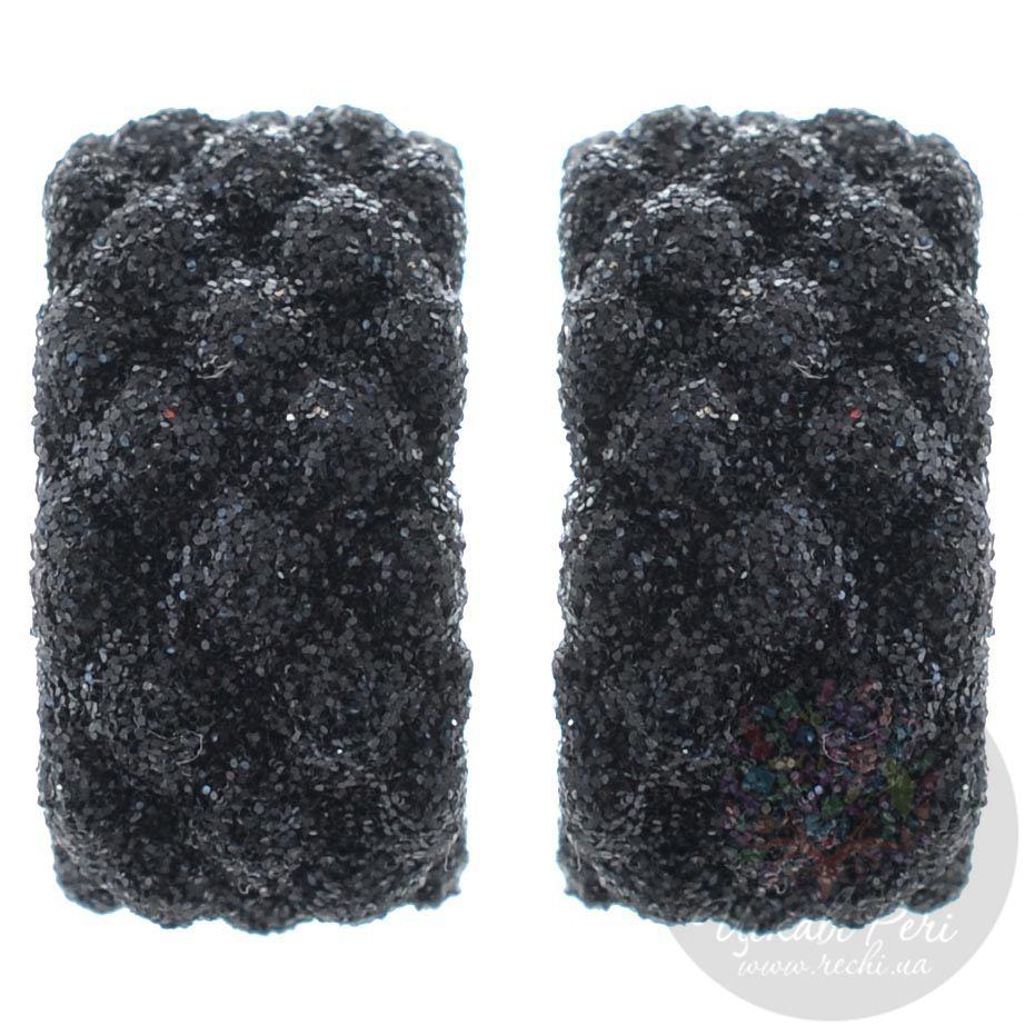 Серьги-пусеты Pesavento позолоченные с рельефным покрытием мерцающей черной карбоновой крошкой