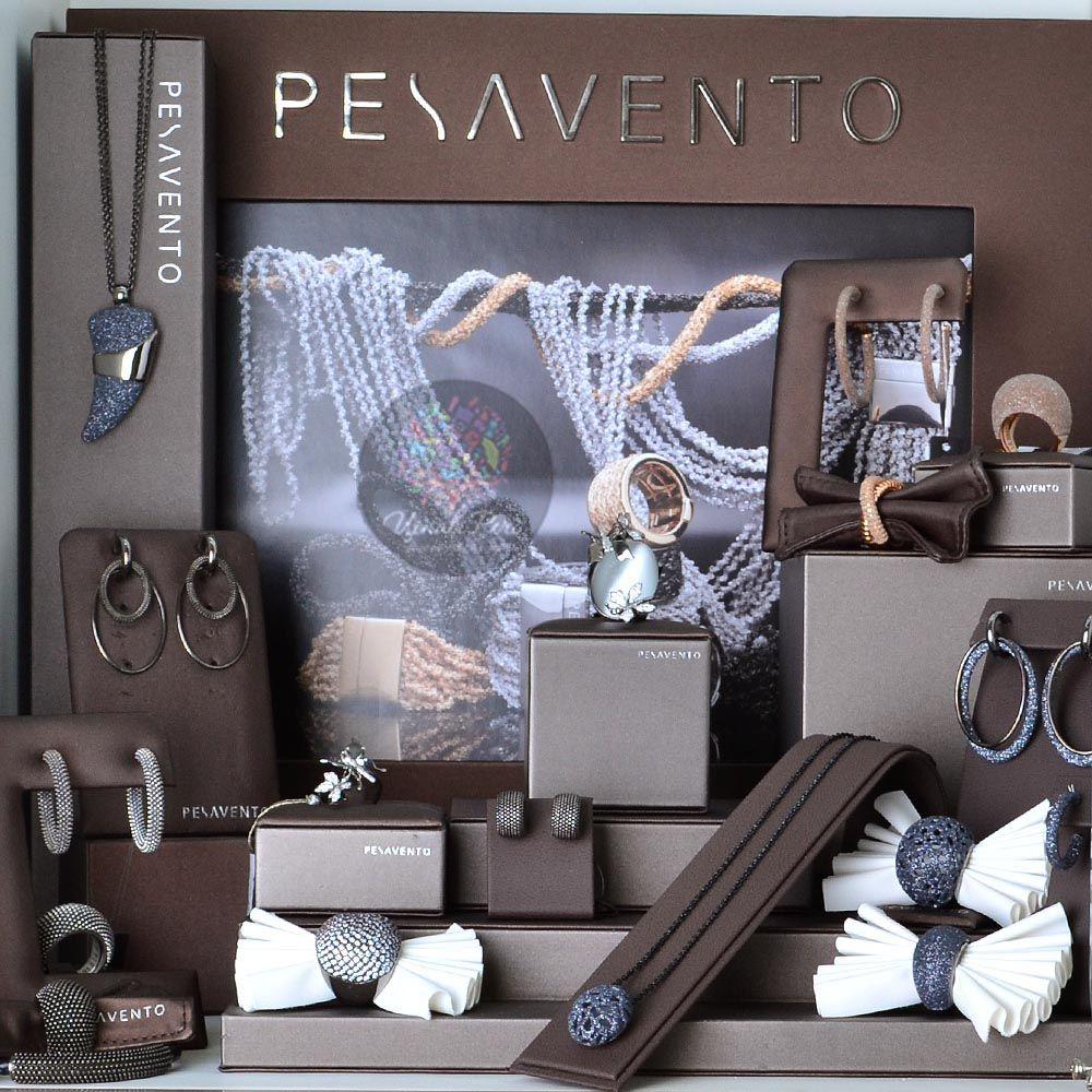 Серьги Pesavento с подвесками-кольцами серебряные с покрытием рутением