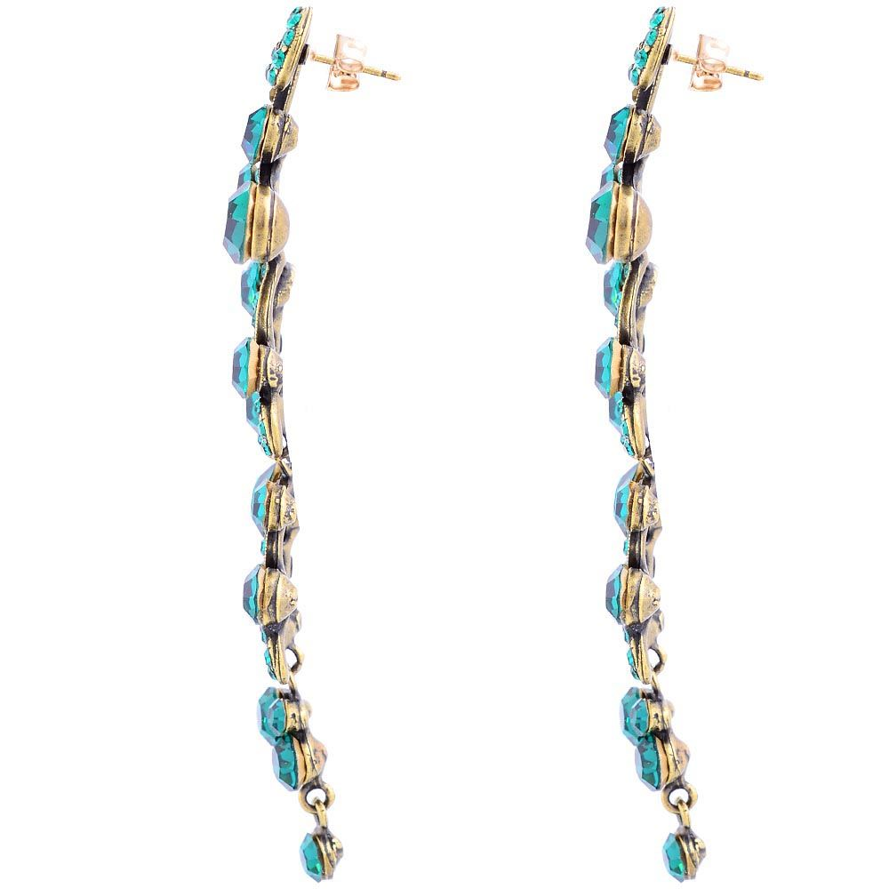 Серьги Parure Milano позолоченные длинные изумрудные с кристаллами Swarovski