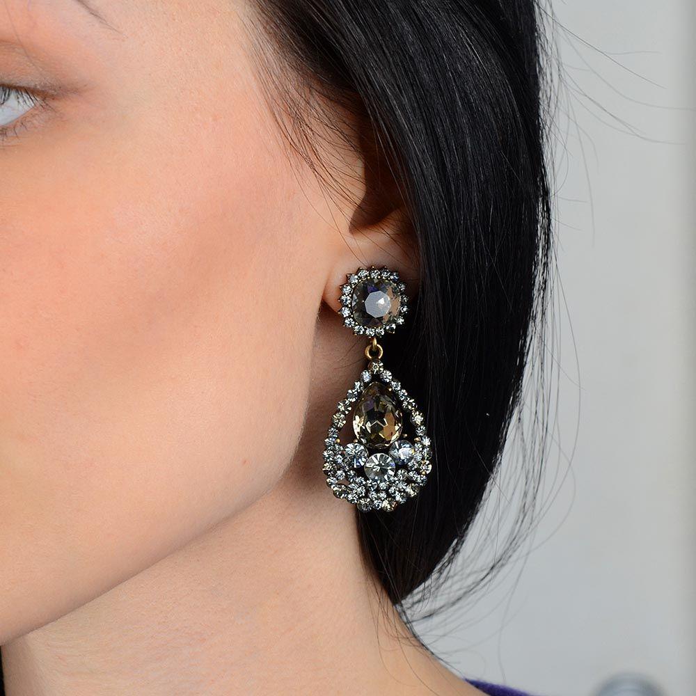 Серьги Parure Milano с кристаллами сиреневого и серого цветов
