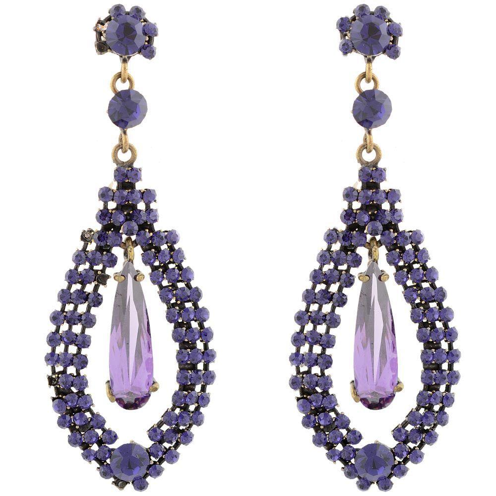 Серьги Parure Milano длинные с кристаллами фиолетового цвета