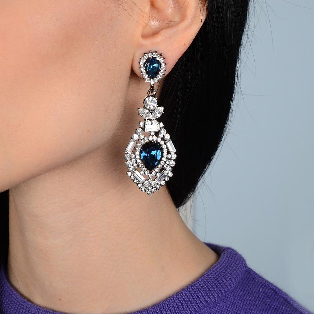 Серьги Parure Milano длинные с цирконами и синими кристаллами Swarovski на черненном металле