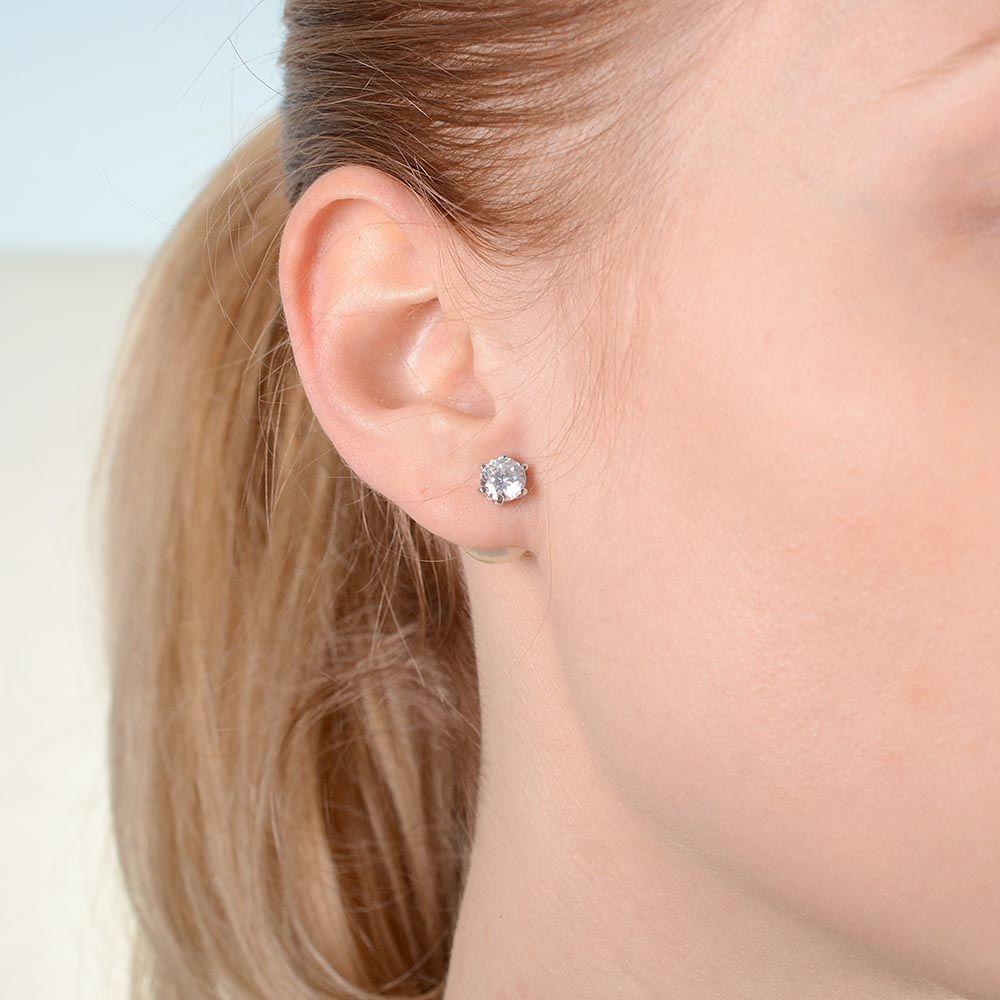 Серьги-гвоздики с жемчужными бусинами и кристаллами серебристые двусторонние