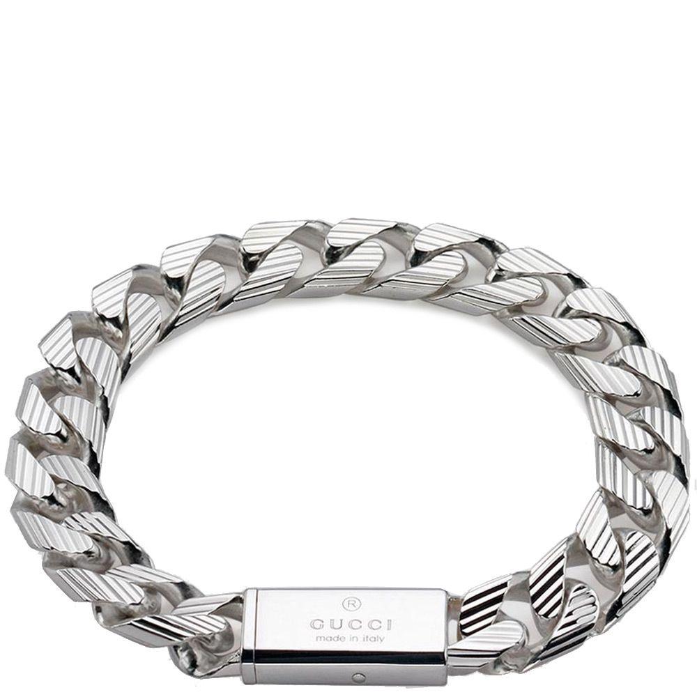 Браслет Gucci из серебра Trademark Stripes (slim version)