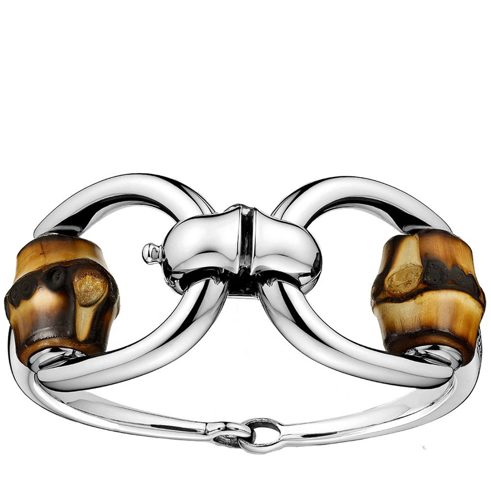 Браслет Gucci из серебра Bamboo horsebit