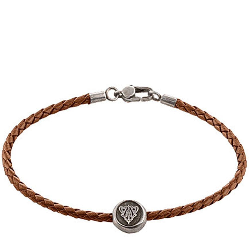 Браслет Gucci из серебра Crest brown leather cord
