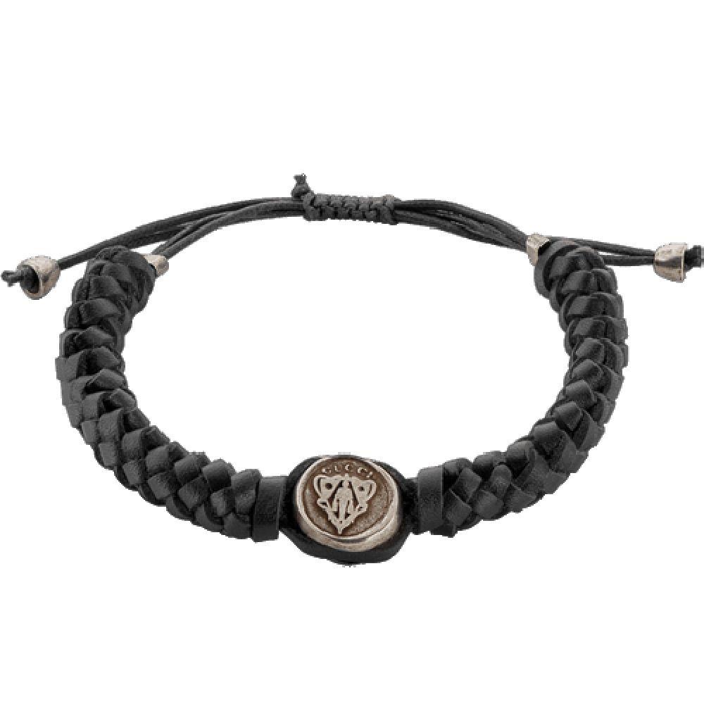 Браслет Gucci из серебра Crest with black leather cord