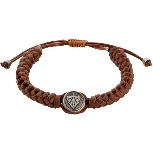 Браслет Gucci из серебра Crest with brown leather cord